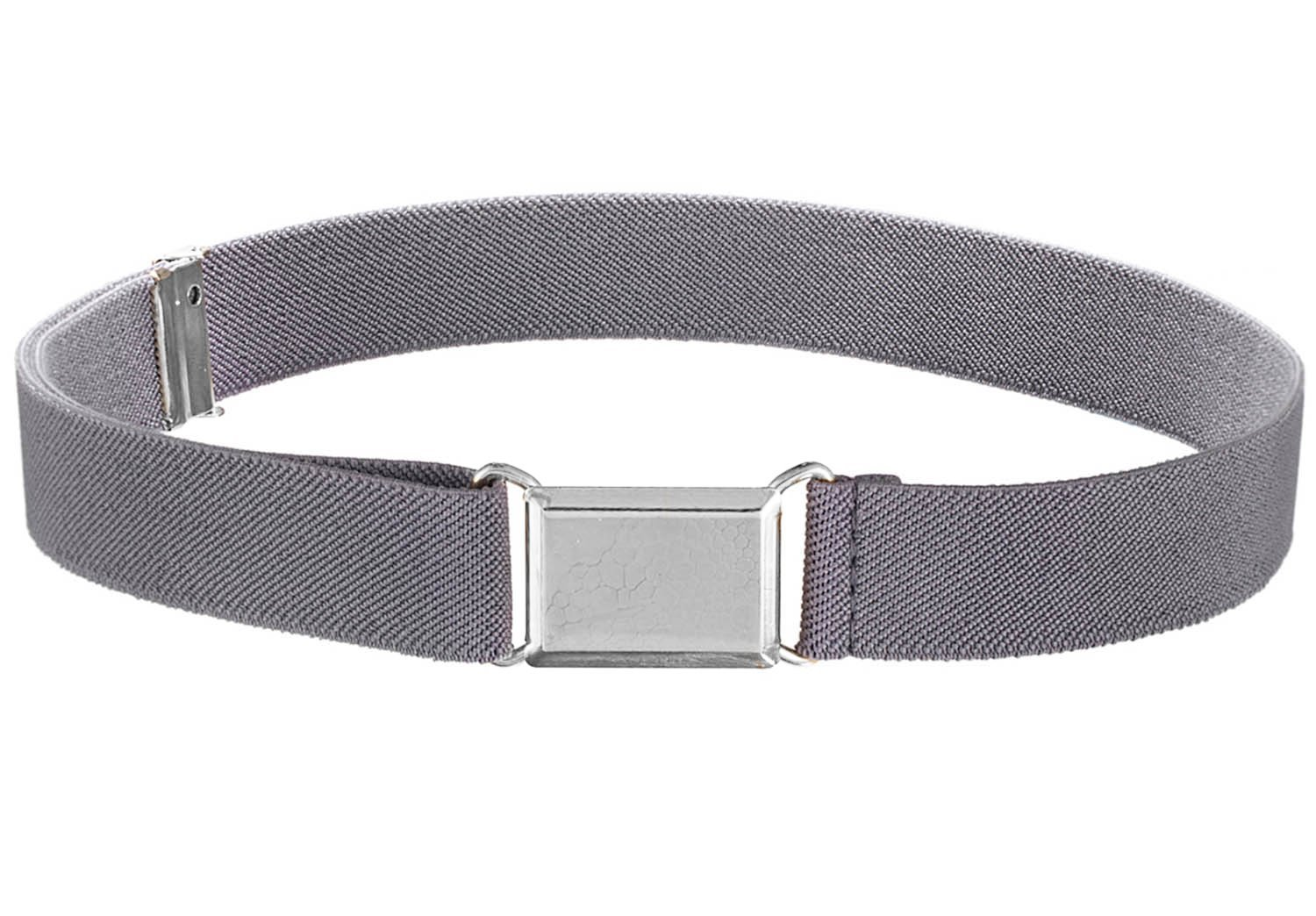 Kids Elastic Adjustable Strech Belt With Silver Square Buckle - Grey