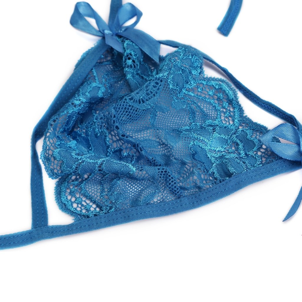 FENTI Women s Bridal Lingerie Sexy Strappy Lace Halter Bra Brazilian Panty  Set cd2a7287f