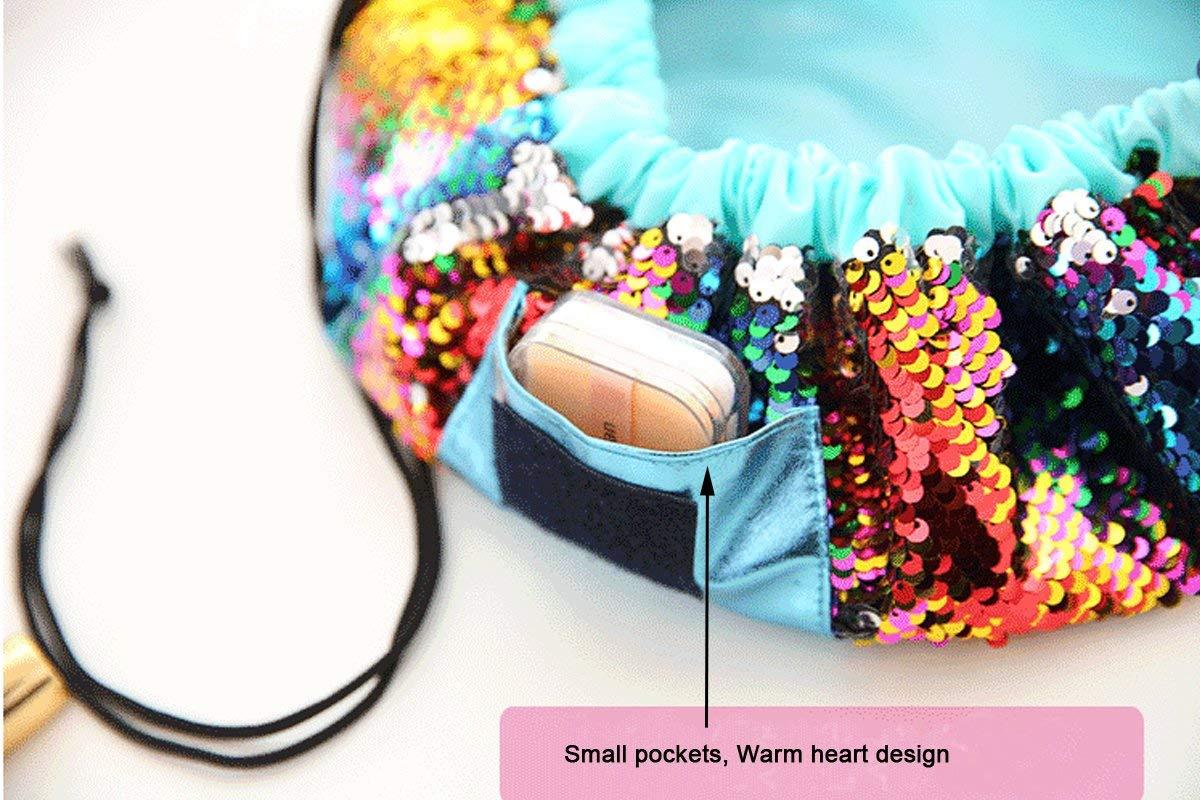 Fanovo Unicorn Lazy Drawstring Cosmetic Bag - Unicorn Makeup Bag,Waterproof Travel Bag Drawstring Makeup Bag Magic Toiletry Bag for Women+ 1 PC Cute Unicorn Ring (Sequin Rainbow)