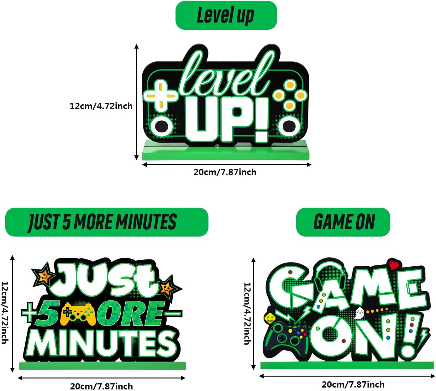 Level Up Topper de Table Game On D/écoration de F/ête de Jeu pour Anniversaire Baby Shower D/écorations de Table de Jeux Vid/éo Signe de Table Pix/élis/é Centre de Table en Bois Just 5 More Minutes