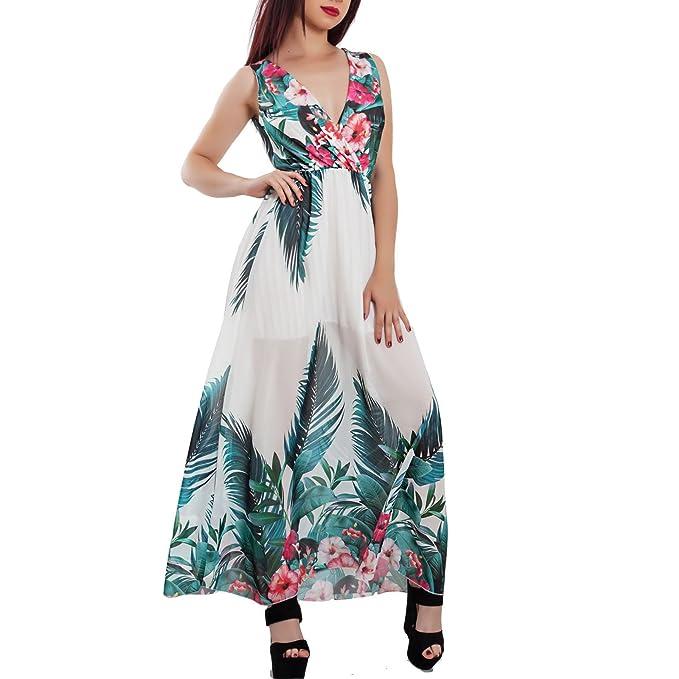 bbfbc6ca3143 Toocool - Vestito Donna Abito Lungo Fantasia Floreale Velato Scollato  Elegante JL-2679  Taglia Unica