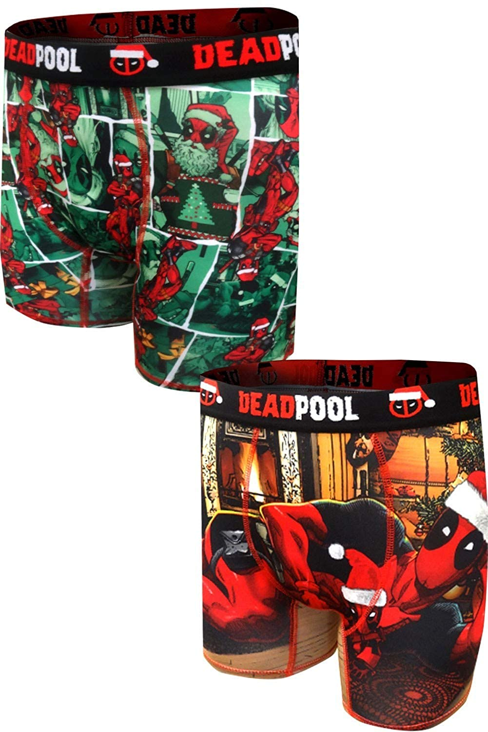 Briefly Stated Mens Deadpool Deck The Halls Christmas Performance Boxer Brief 2 Pack
