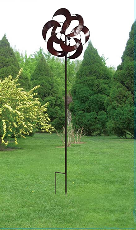 Kinetic Wind Sculpture Modern Art Dual Sun Spinner Metal Garden Outdoor  Pinwheel