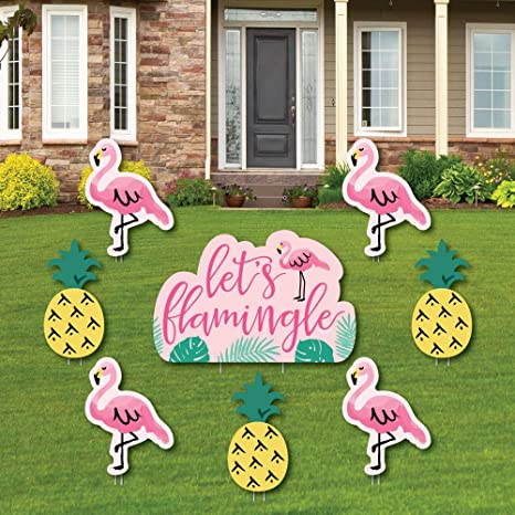 Amazon Com Flamingo Party Like A Pineapple Yard Sign Outdoor