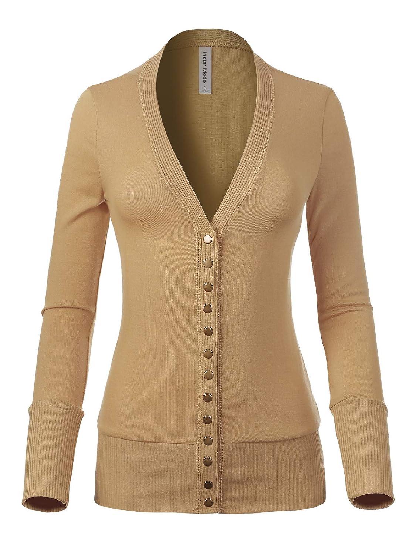Icaw010 Khaki Instar Mode Women's Soft Basic VNeck Snap Button Down Knit Cardigan