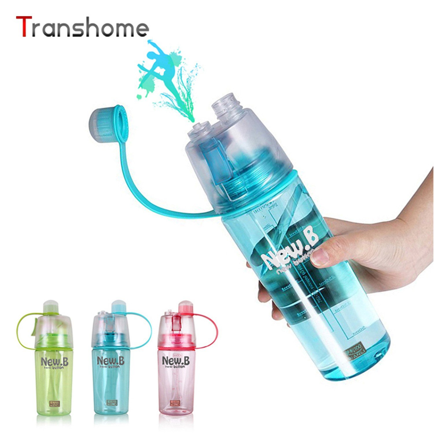 Spray Water Bottle For Sports Outdoor Dual-use Plastic Bottles For Water Fashion Drink ware 600ML