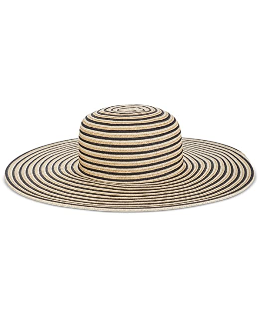 e43613666ff669 Image Unavailable. Image not available for. Color: Nine West Stripe Super  Floppy Hat, Tan/Black, ONE SIZE