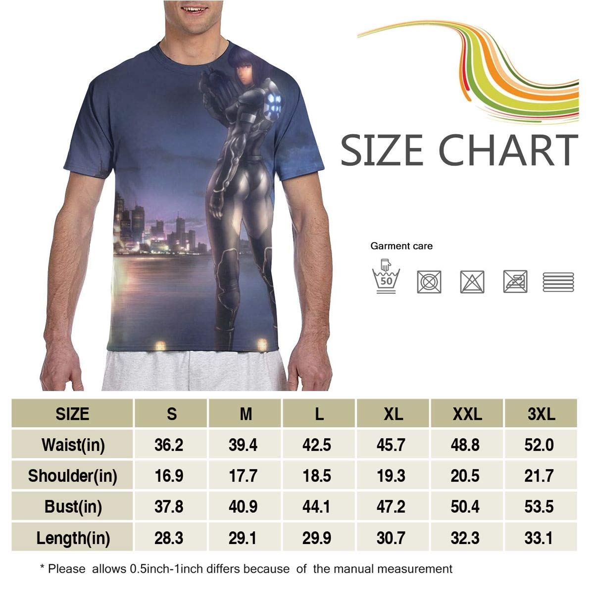 Ghost in The Shell Anime Mens Two Side Print Polyester Short Sleeve Tee