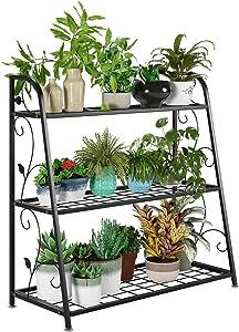 femor 3-Tier Metal Plant Stand, Flower Rack, Plant Holder, Multi-Functional Organizer for Indoor & Outdoor, Garden & Balcony.