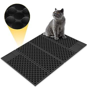 Zellar Alfombrilla para gatos portátil (grande)-Materias de alimentación de gato de doble cara, atrapa-literas + a prueba de agua + plegables + goma ...