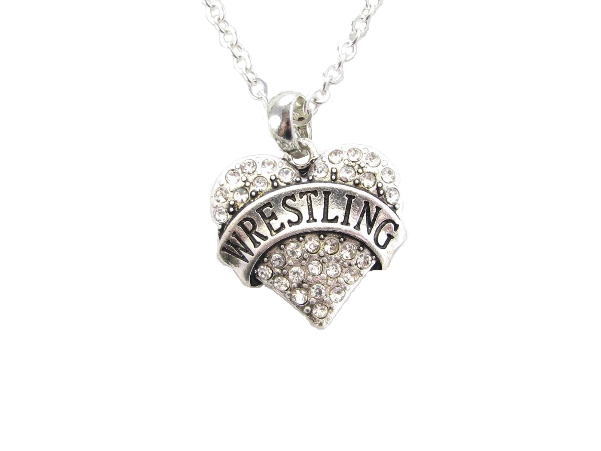 Sports Accessory Store Wrestling Silver Chain Necklace Clear Crystal Heart Pendant Jewelry
