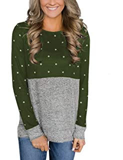 Womens Tops Long Sleeve Elbow Patches Plaid Pullover Sweater Polka