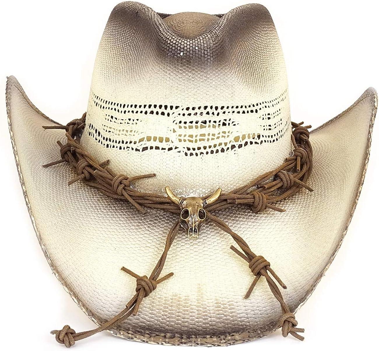 Sommerhut Sonnenhut Cowboyhut aus Stroh f/ür Damen und Herren Westernwear-Shop Westernhut Strohhut Ghost Rider