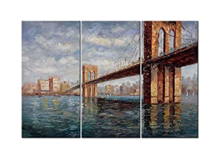 Canvas Print Wall Art Paintings For Home Decor Brooklyn Bridge In Hand  Painted Style 3 Pieces