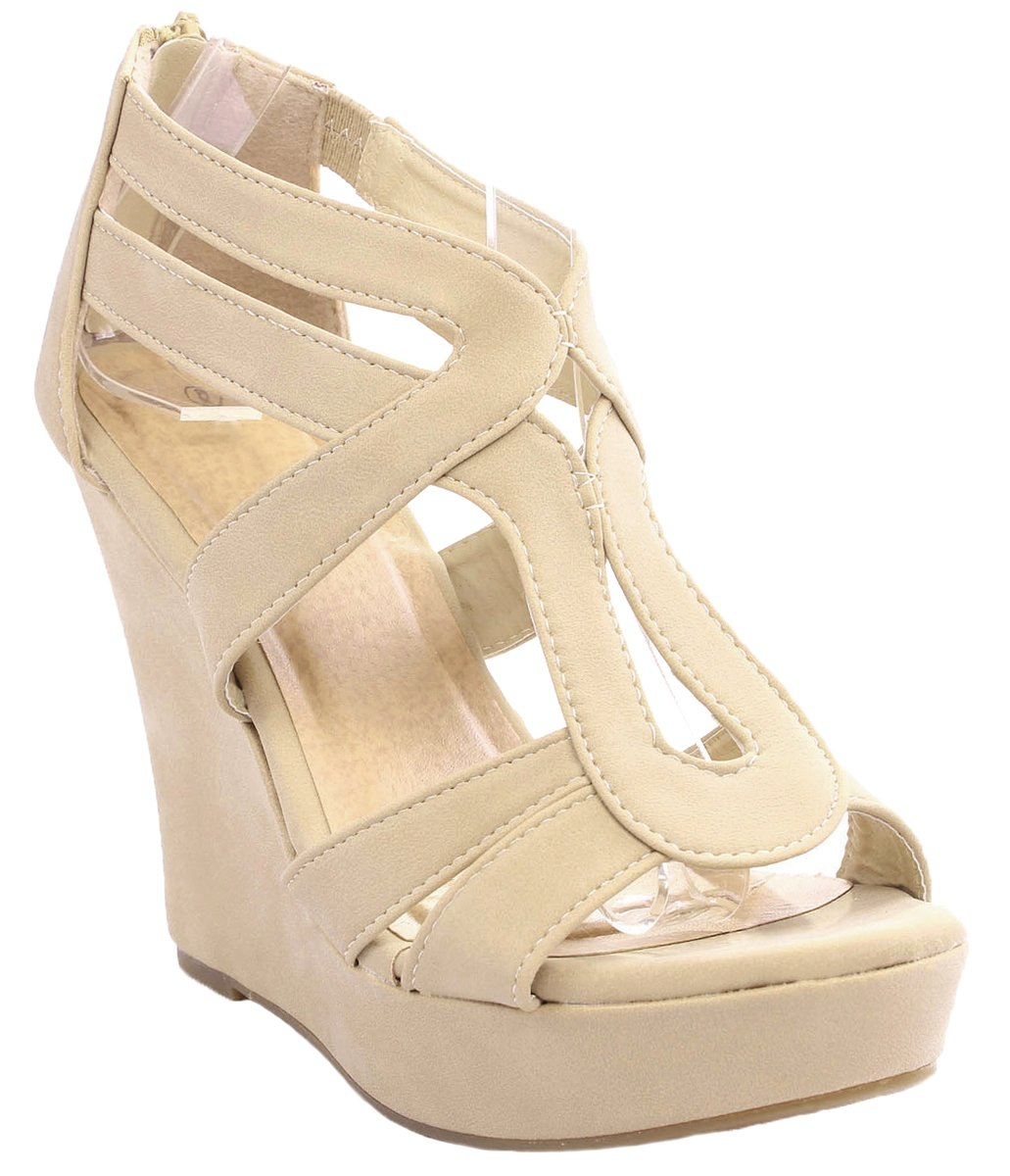 Women Lindy Comfort Gladiator Strappy Faux Leather/Nubuck Dress Platform High Wedge Sandals B071J7W3V1 7 B(M) US|Beige_l3