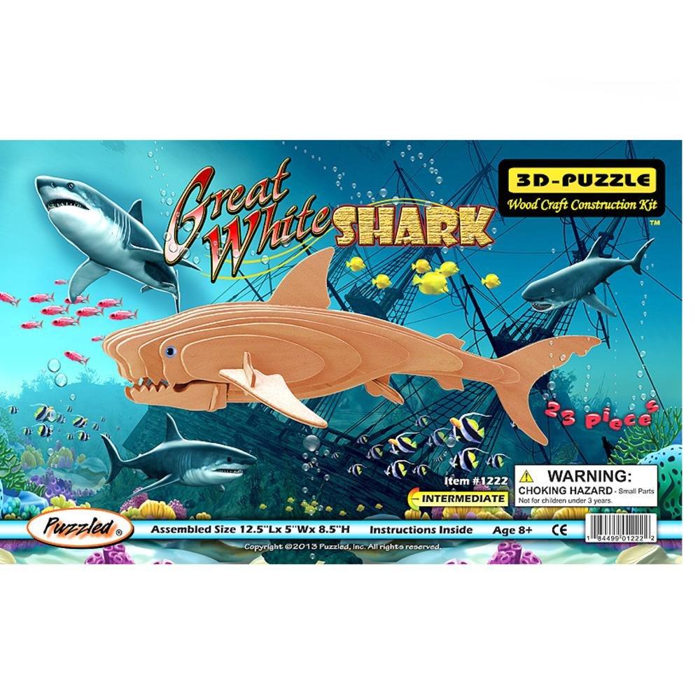 週間売れ筋 Great 3D White Shark 3D Woodcraft Construction Woodcraft Puzzle Great Kit B002GJFF4Y, ロクノヘマチ:009a9411 --- quiltersinfo.yarnslave.com