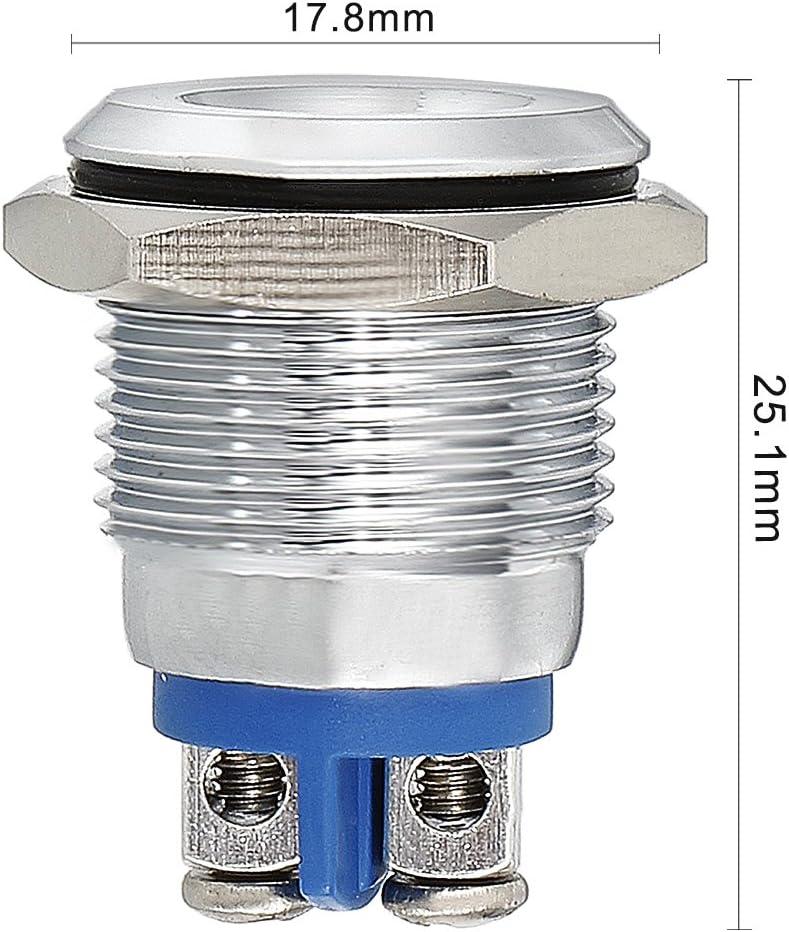 uxcell/® LED Indicator Light 12V 16mm Green Metal Shell Pilot Custom Dash Signal Lamp Concave Head