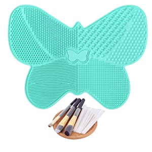 Makeup Brush Cleaner Mat Silicone Cosmetics Brush Cleaner Butterfly Shape Makeup Brush Cleaning Pad with Suction Cups + 10 Pcs Makeup Brush Protector (Mint Green)