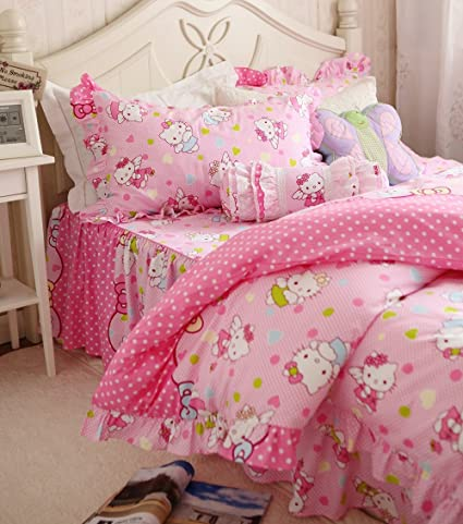 FADFAY Cute Hello Kitty Bedding Set Twin Full Queen King Duvet Cover Bed