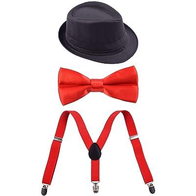 Boys Kids Suspenders Set Pre Tied Bow Tie Black Fedora Hat for Party Wedding