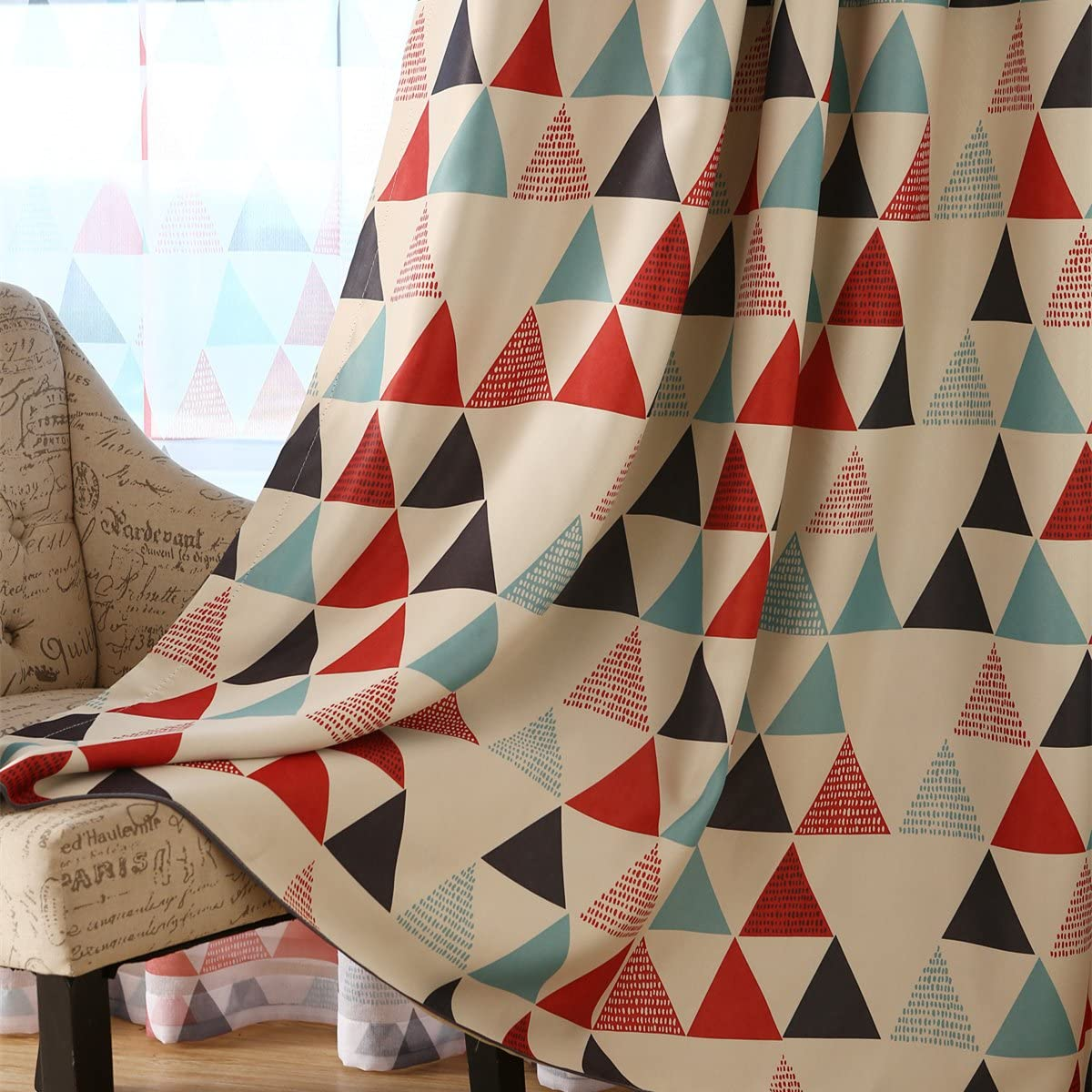 MYRU 1 Pair Geometric Triangle Grommet Top Room Darkening Curtains for Boys Girls Kids Room 54 Width by 63 Length X 2, Red
