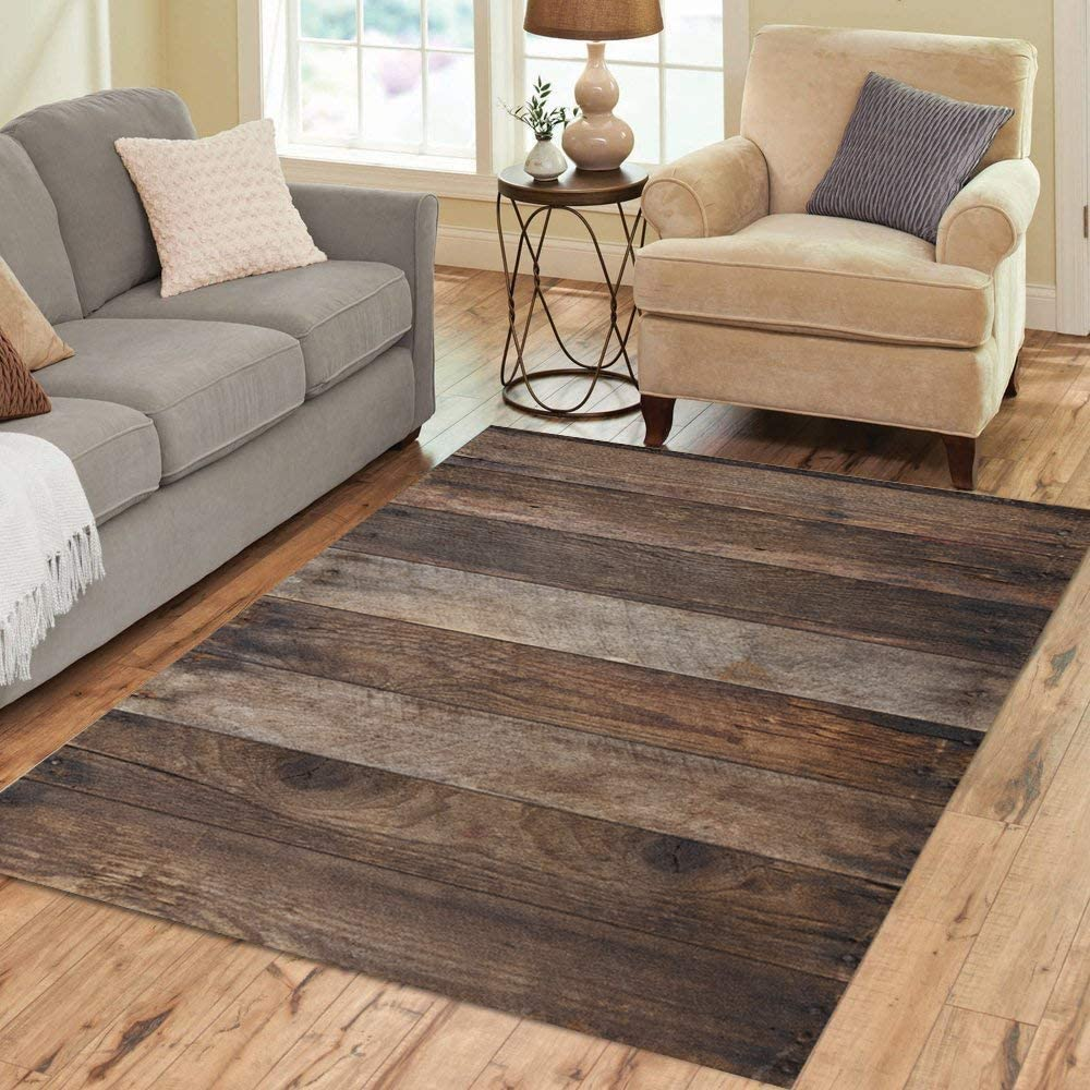 Amazon.com: Pinbeam Area Rug Brown Rustic Wood Plank Wooden Top