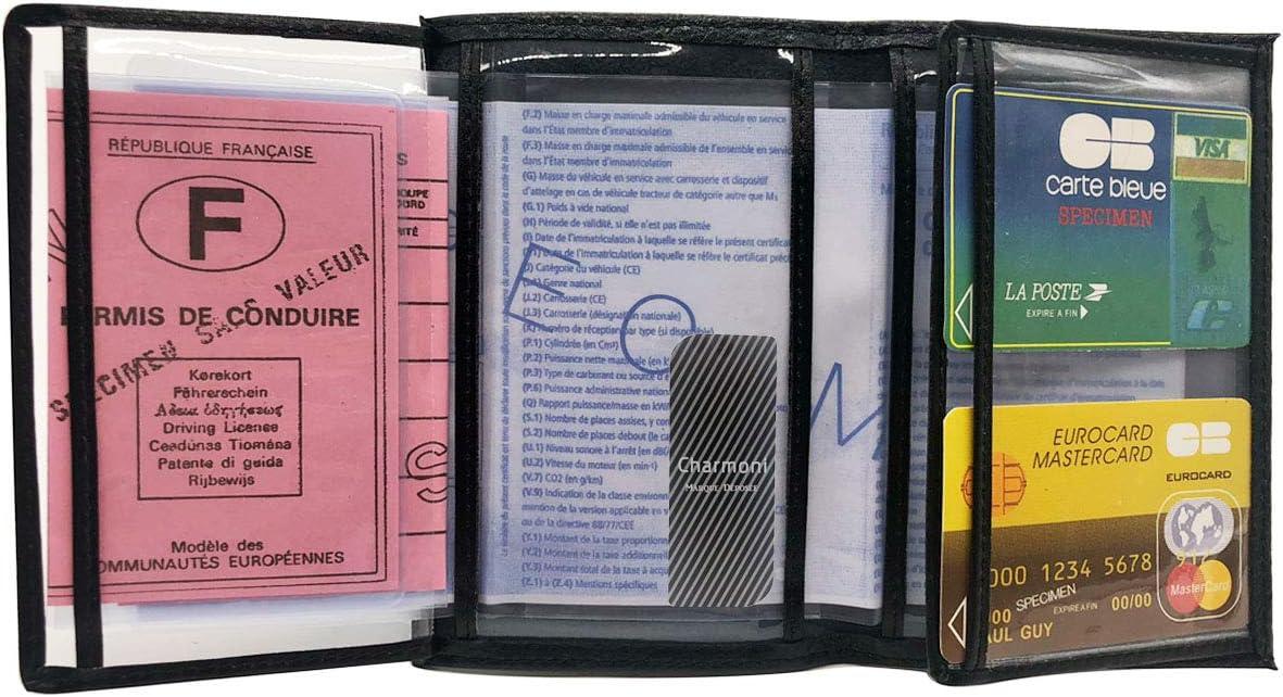 Thane La pi/èce didentit/é la Carte Grise 4 Plis Charmoni en Cuir Vachette Bleu fonc/é Etui Porte Papier Voiture 10 cm X 15 cm permis de Conduire