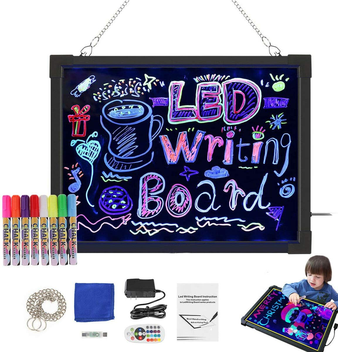 rateim Light Energy Childrens Writing Board Electronic LCD Painting Board Graphics Tablets