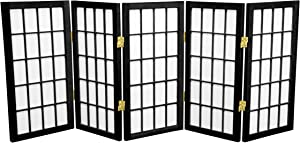 Oriental Furniture 2 ft. Tall Desktop Window Pane Shoji Screen - Black - 5 Panels