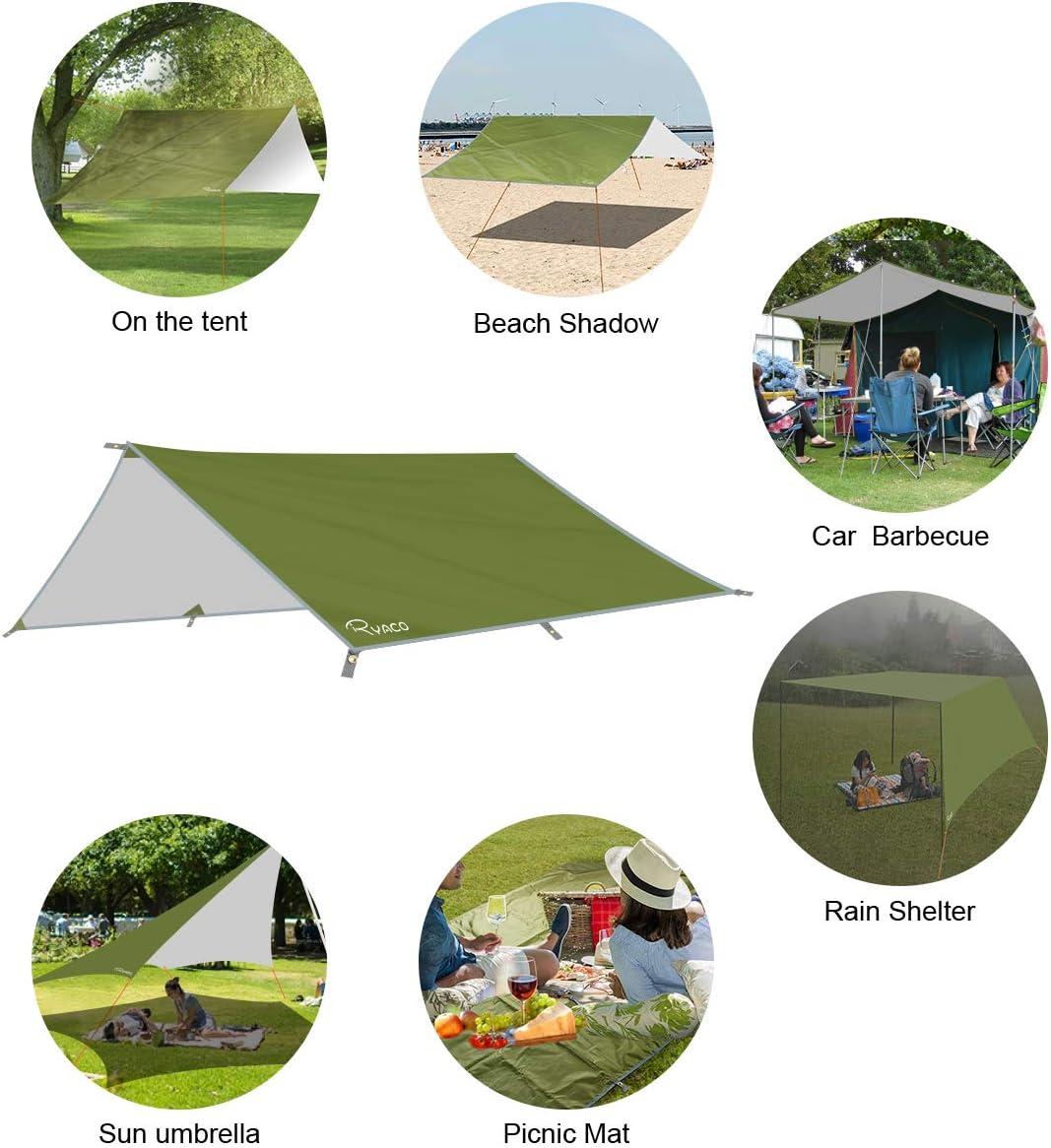 240 x 220 cm senderismo hamaca con cord/ón de transporte para picnic Lawei Lona impermeable para tienda de campa/ña playa refugio para camping multifuncional