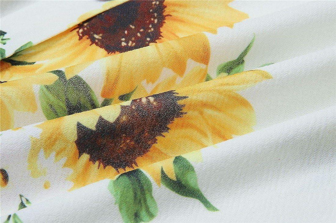 Femmes Robes Summer Floral Boh/ème Spaghetti Strap Bouton Bas Swing Midi Dress avec Poches 27 Couleur