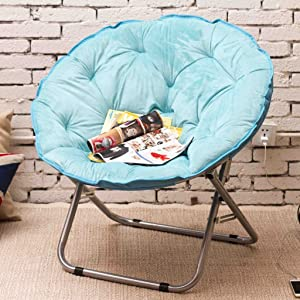 Chairs Single Moon Lazy Radar Lunch Break Folding Recliner Sun Home Decoration (Color : Light Blue)