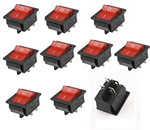 10 x KCD4 DPST 4Pin On-Off Red Light Panel Rocker Switch 15A/250V 20A/125V