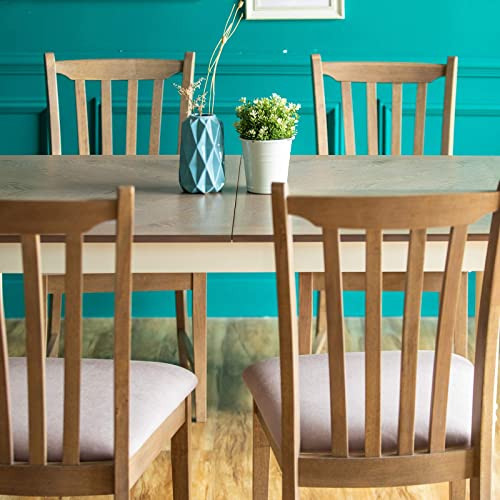 Furgle 5 Piece Furniture Kitchen Set Rectangular Extendable Oak Solid Wood Dining Table with 4 Chairs, Large Dining Set with Separate Extension Leaf 70.8 Long Table and Upholstered Fabric Seat