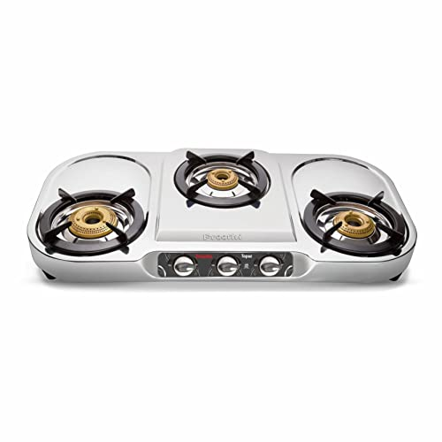 3. Preethi Topaz Stainless Steel 3-Burner Gas Stove