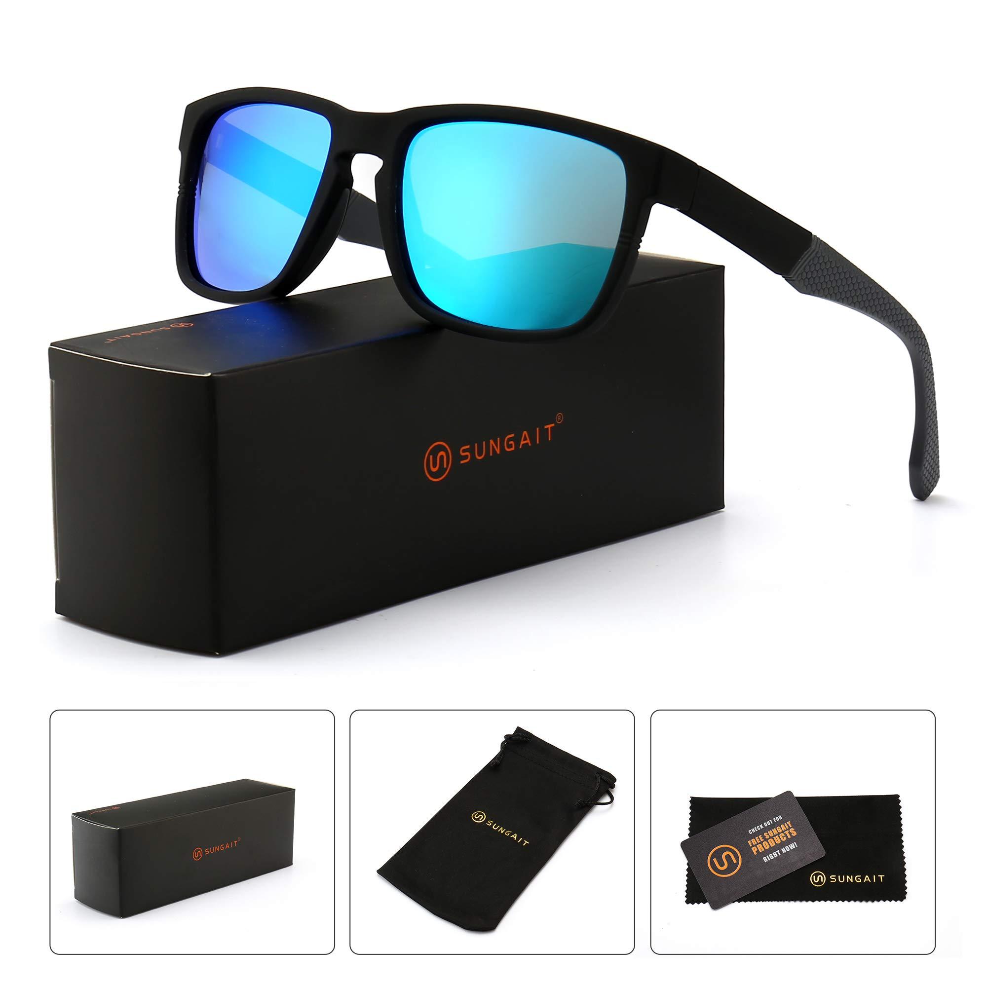 f38c732d253 SUNGAIT Unisex Polarized Sunglasses Stylish Sun Glasses with Spring Hinges  (Black Frame (Matte Finish)  Blue Mirror Lens) A529 HKLA