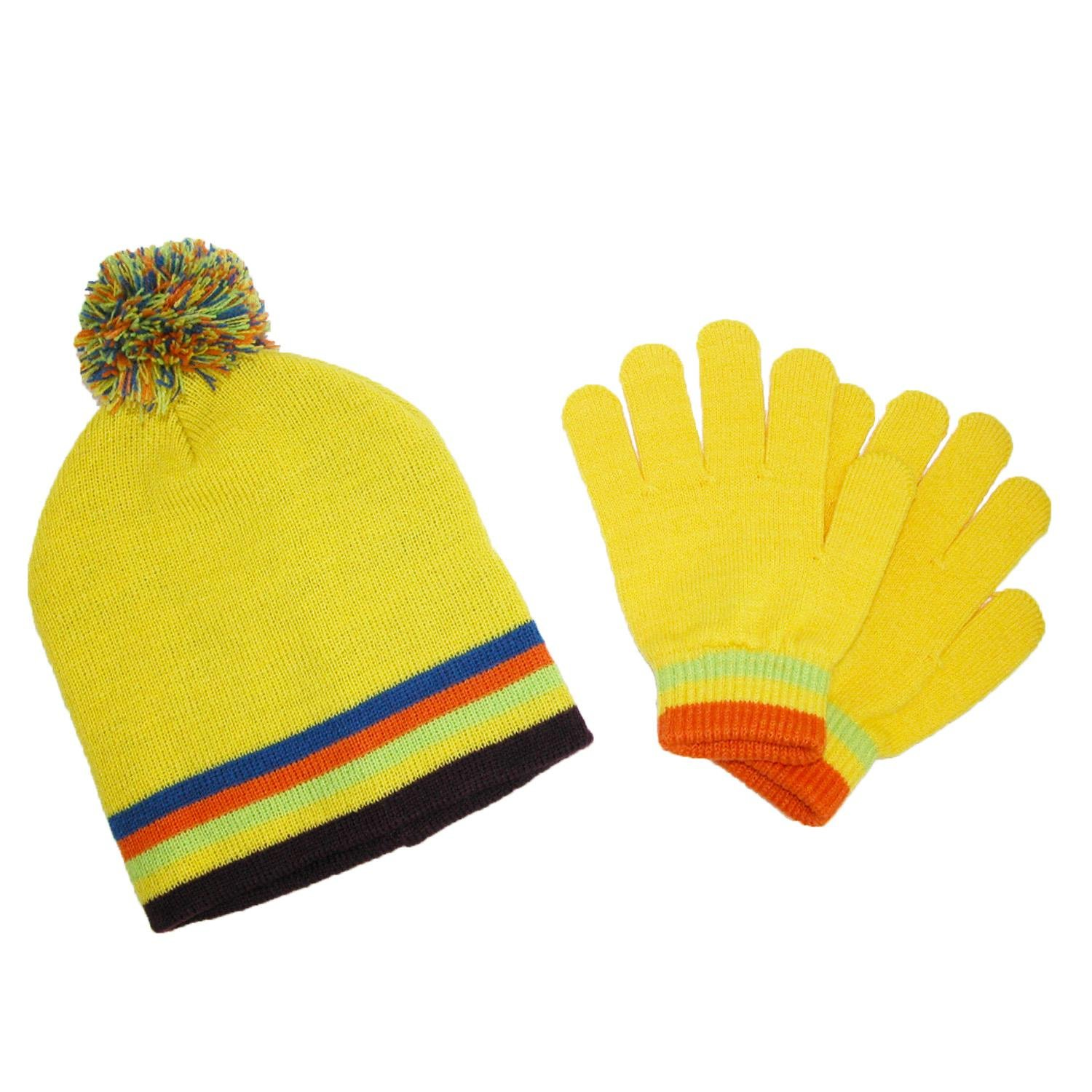CTM Kids' Knit Striped Hat and Gloves Winter Set, Yellow GM-KB119SET-YEL