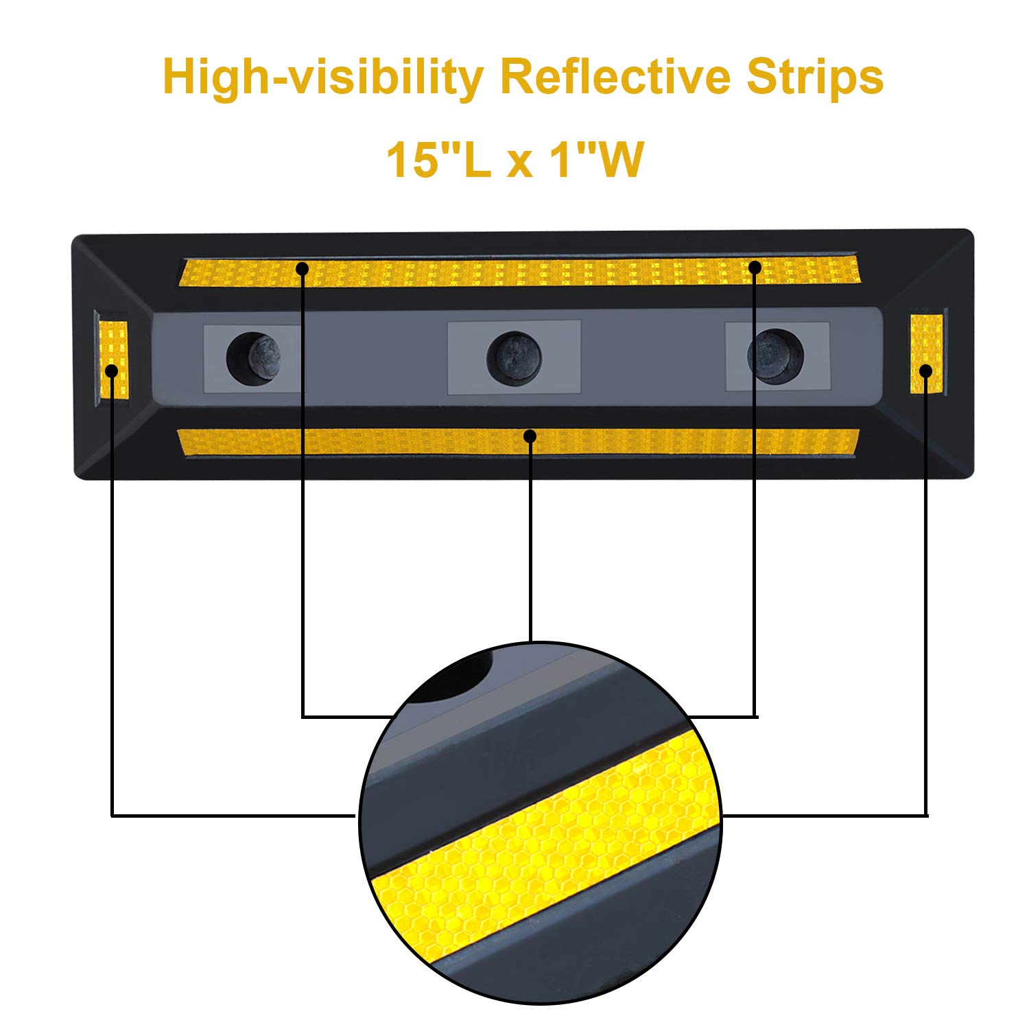 2 Pack Heavy Duty Rubber Parking Blocks Wheel Stop for Car Garage Parks Wheel Stop Stoppers Professional Grade Parking Rubber Block Curb w/Yellow Refective Stripes for Truck RV, Trailer 21.25''(L) by Reliancer (Image #4)