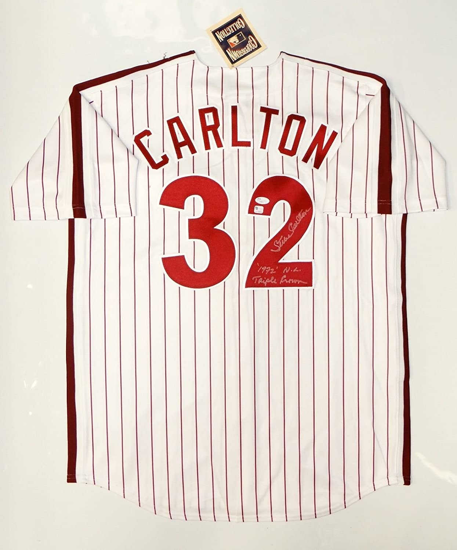 Steve Carlton Autographed Philadelphia Phillies P/S Cooperstown Jersey- JSA Auth