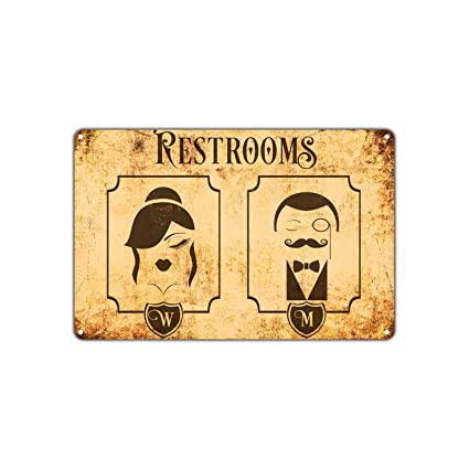 Amazon.com: Restrooms for Men Women Ladies And Gentlemen Vintage ...