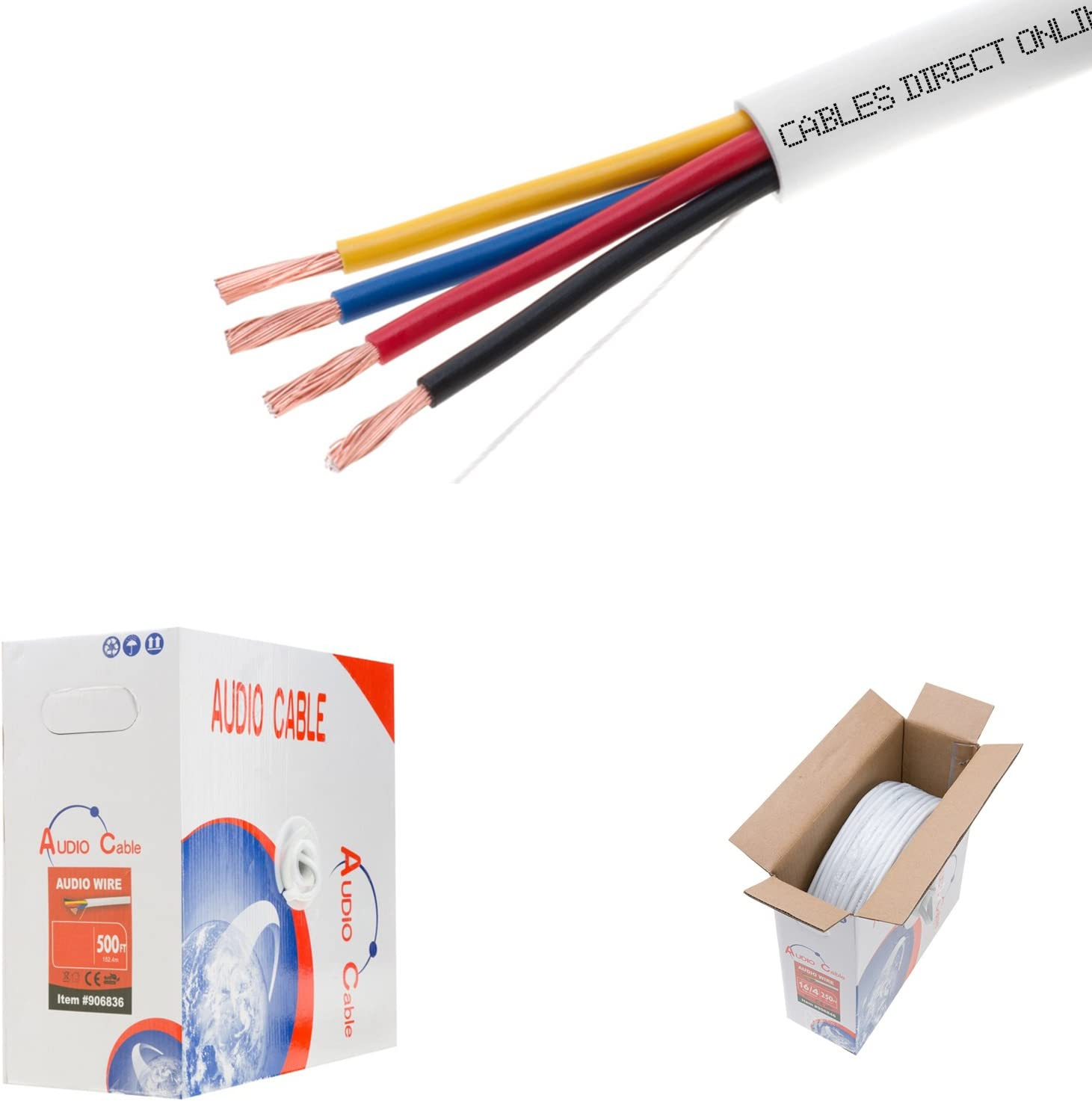 250ft 14AWG 4 Conductors (14/4) CL2 Rated Loud Speaker Cable Wire, Pull Box (for in-Wall Installation) (14AWG / 4 Conductors, 250ft)
