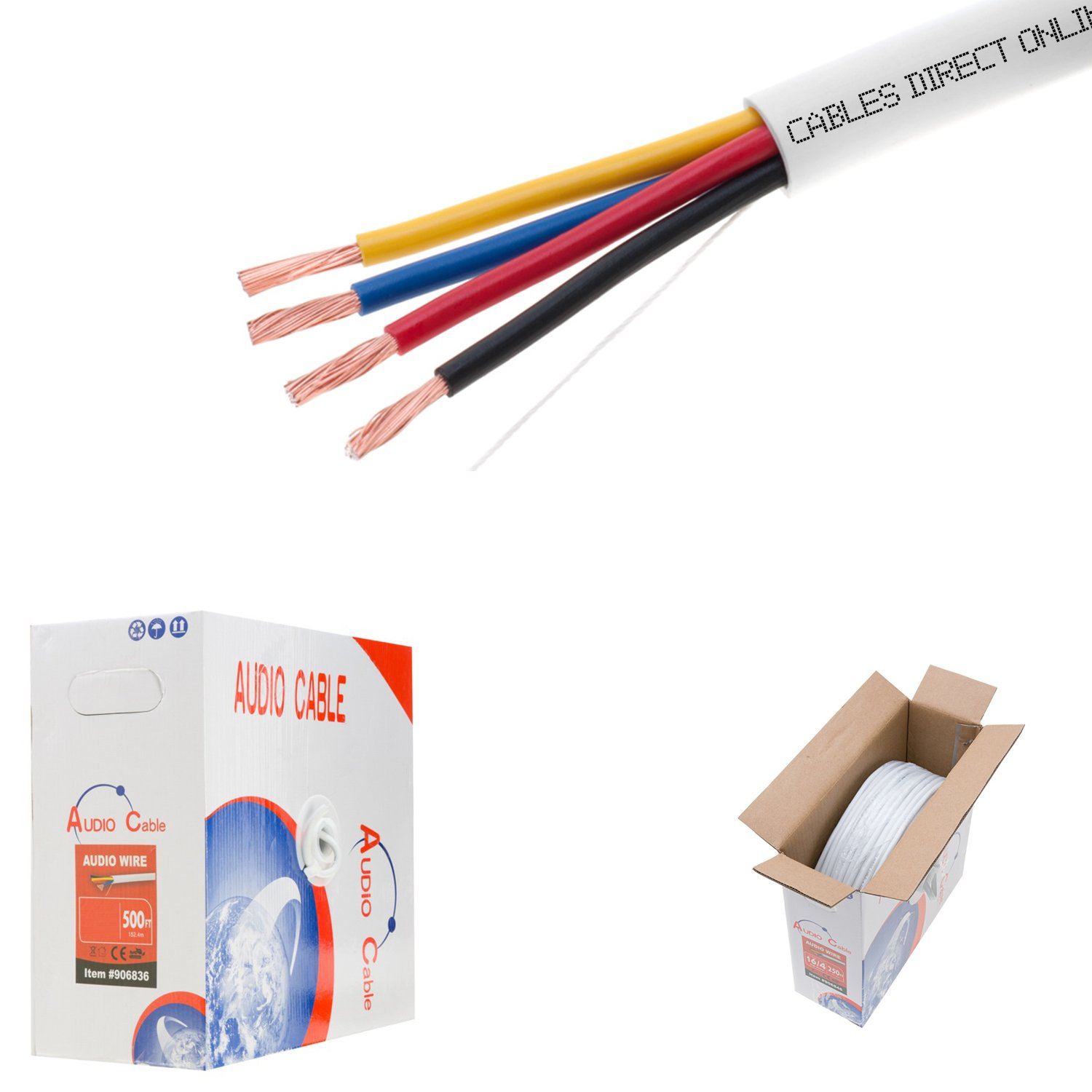 500ft 16AWG 4 Conductors (16/4) CL2 Rated Loud Speaker Cable Wire, Pull Box (For In-Wall Installation) (16AWG / 4 Conductors, 500ft)