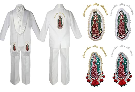 9d5acc0e0 Kids Boy Christening Baptism Formal White Shawl Lapel Suit Guadalupe Maria  Sm-7 (Small