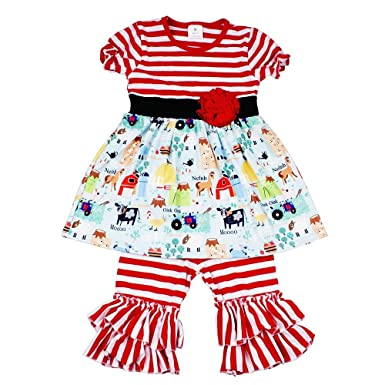 82885fe4745ed Baby Girl Summer Animal Outfits - Cute Red Stripe Farm Print Boutique  Clothing for Little Girls
