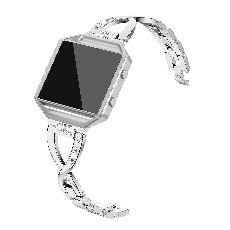afband for Fitbit Blazeバンド、ラインストーン交換アクセサリーメタルストラップ手首バンドフレーム女性用 B07FH7TJPN シルバー
