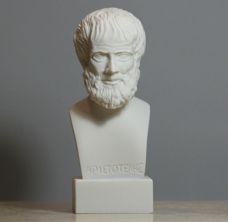 Aristotele greco filosofo Scientist alabastro busto testa statua scultura 15cm