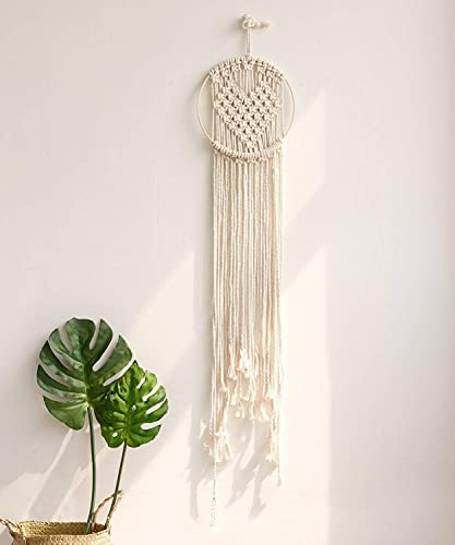 Macrame Knotting Wall Hanging Cotton Handmade Love Tapestry Home Wall Decor,10 Wx 32-48 L