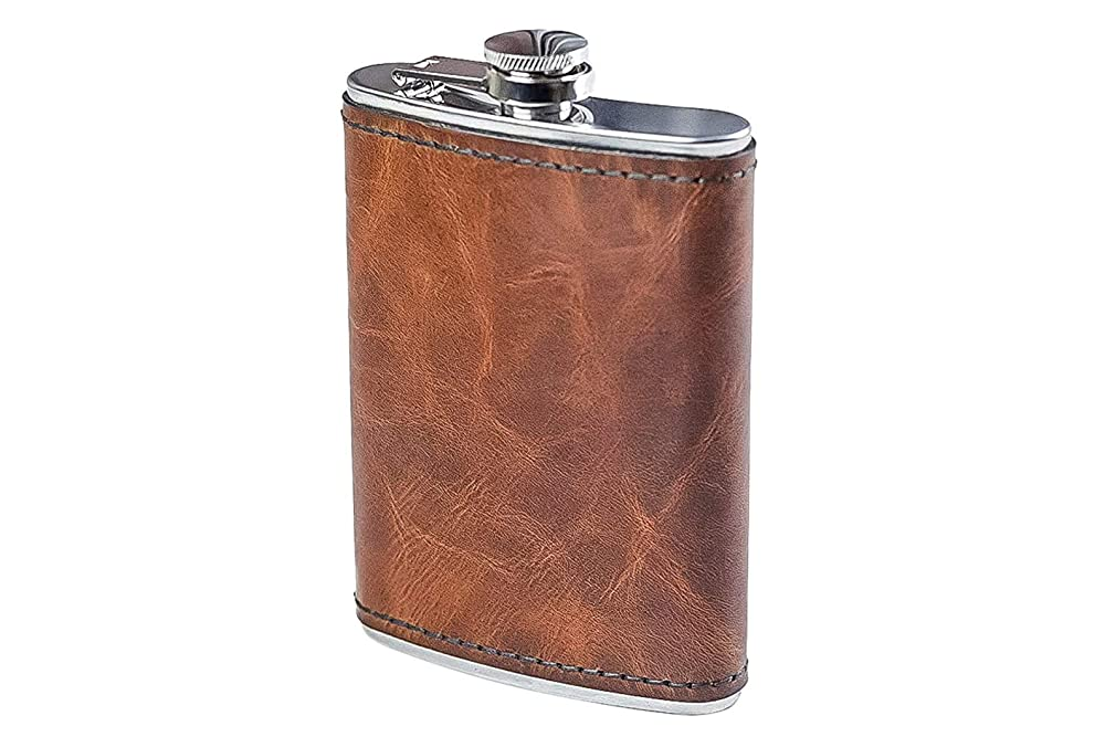 Papa Bear pocket flask Leather hip flask Covered flask Round flask Custom flask  Groomsmen gift Father day gift