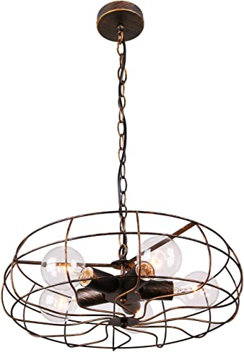Unitary Brand Vintage Barn Copper Metal Hanging Ceiling Chandelier Max. 200W