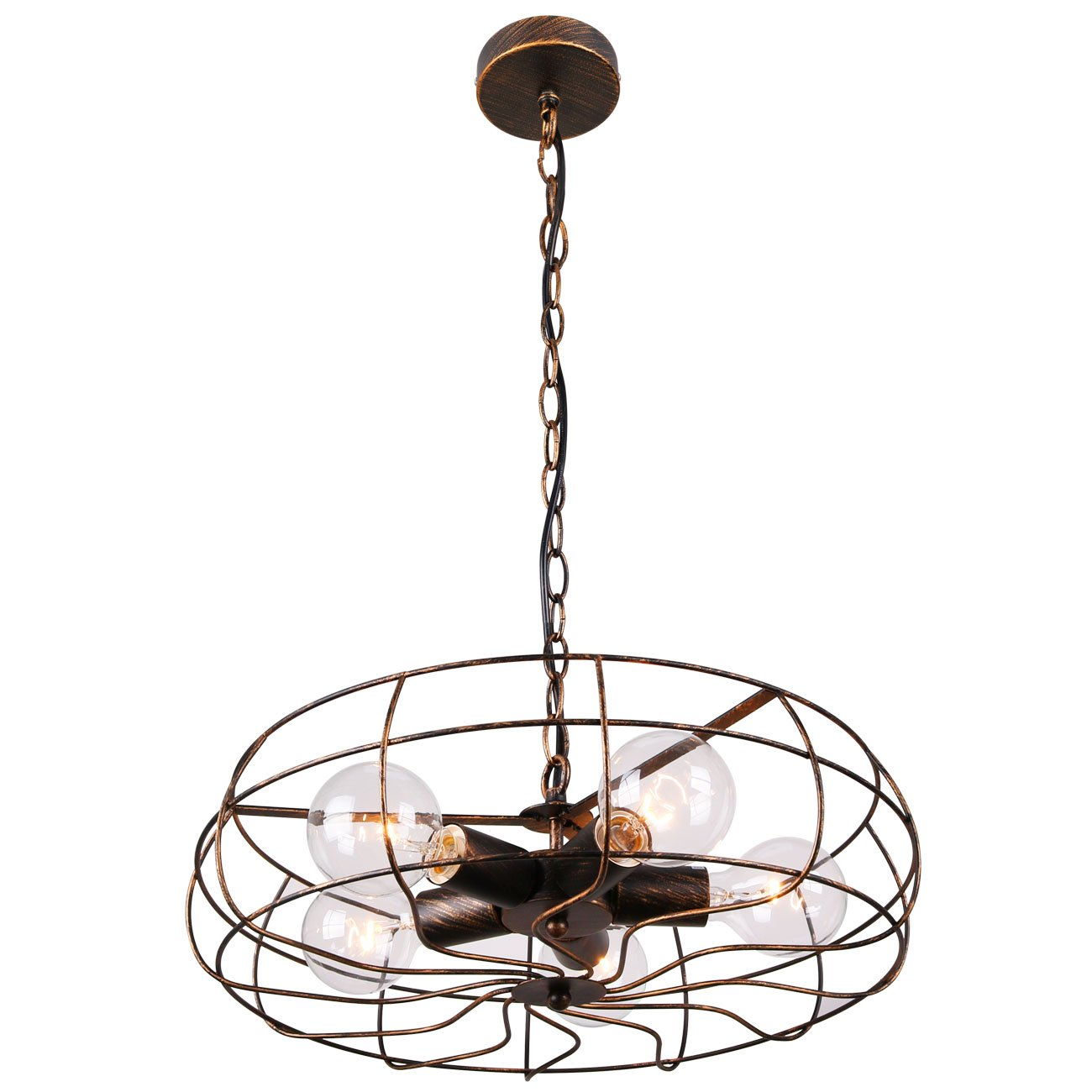 Unitary Brand Vintage Barn Copper Metal Hanging Ceiling Chandelier Max. 200W With 5 Lights Painted Finish